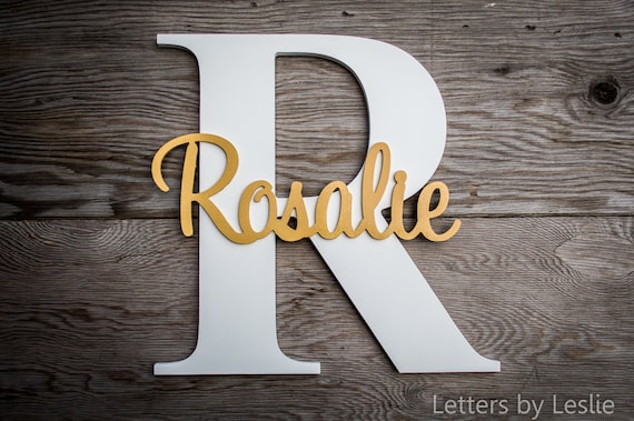 Wood Letters - Capital Letter with Name - Custom Nursery Decor, Name on Large Letter, Wooden letter,  Nursery Letters, Nursery Art, Wall Art