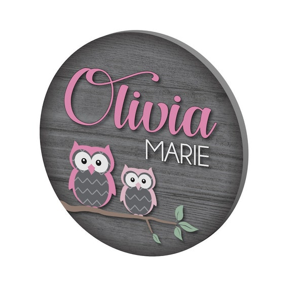 Round Personalized Name Sign with Woodland Owls