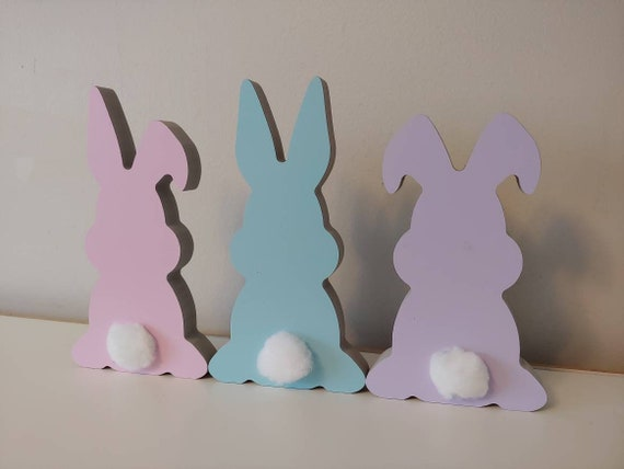 Set of 3 Easter Bunny Shelf Sitters, Easter Decor, Freestanding Easter Bunnies, Modern Easter Decor, Easter Mantle Decoration, Easter Bunny