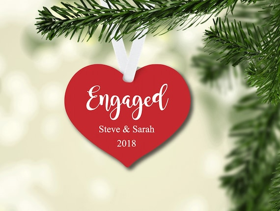 Engaged Christmas Ornament, Personalized Ornament, Heart Shape Christmas Ornament, Engagement Gift, New Couple Gift, Christmas Gift
