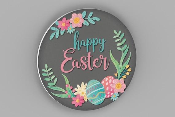 Happy Easter Front Door Sign, Easter Door Hanger, Easter Decor, Happy Easter Wall Sign, Easter Home Decor,  Spring Decor, Easter Floral Sign