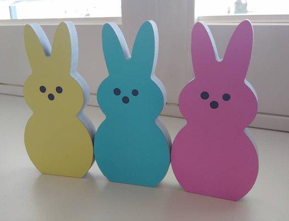 Set of 3 Easter Peep Shelf Sitters, Easter Decor, Freestanding Easter Peeps, Modern Easter Decor, Easter Mantle Decoration