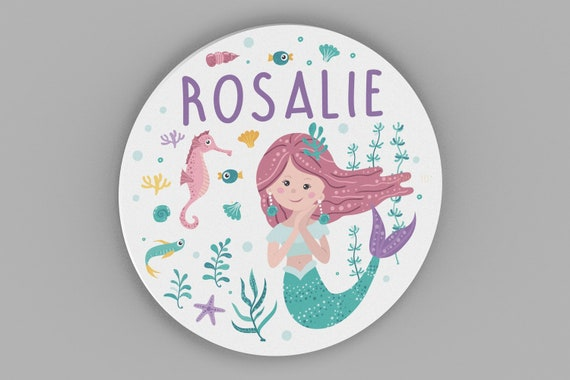 Mermaid Bedroom Decor, Personalized Name Sign, Girls Wall Art