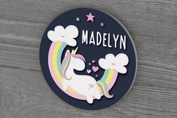 Unicorn Wall Decor, First Birthday Gift, Round Personalized Name Sign, Baby Girl Nursery Decor, New Baby Gift, Baby Shower Gift, Baby Girl