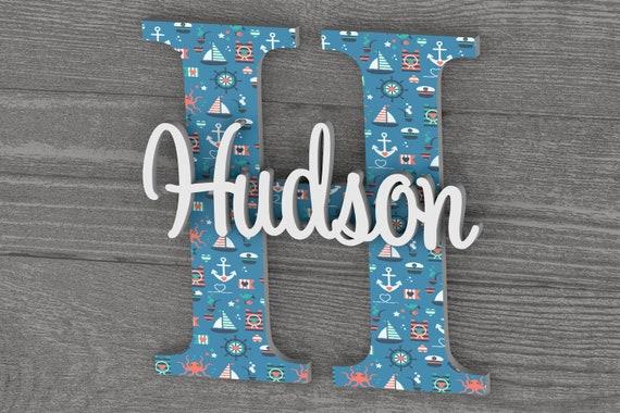 Nautical Nursery Decor, Nursery Name Sign, Nursery Wall Decor, Baby Boy Nursery Decor, Baby Boy Gift, Nautical Letters, Wall Hanging