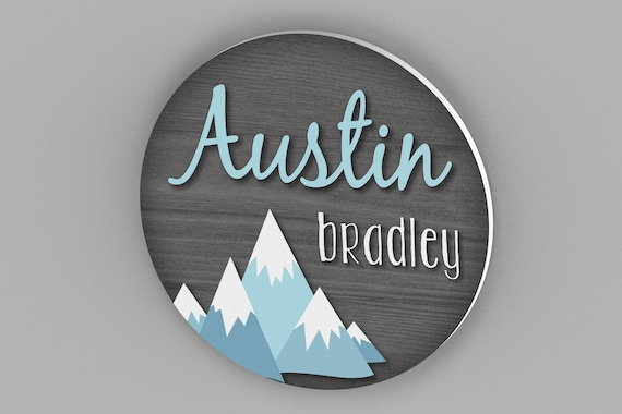 Round Nursery Name Sign, Nursery Decor, Nursery Wall Art, Boy Nursery, Mountain Nursery Decor, Name Sign, Rustic Nursery Decor, Woodland
