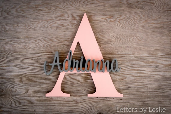 Capital Letter with Name. nursery decor, nursery name sign, nursery letters, baby girl nursery, baby boy nursery, custom sign, baby nursery
