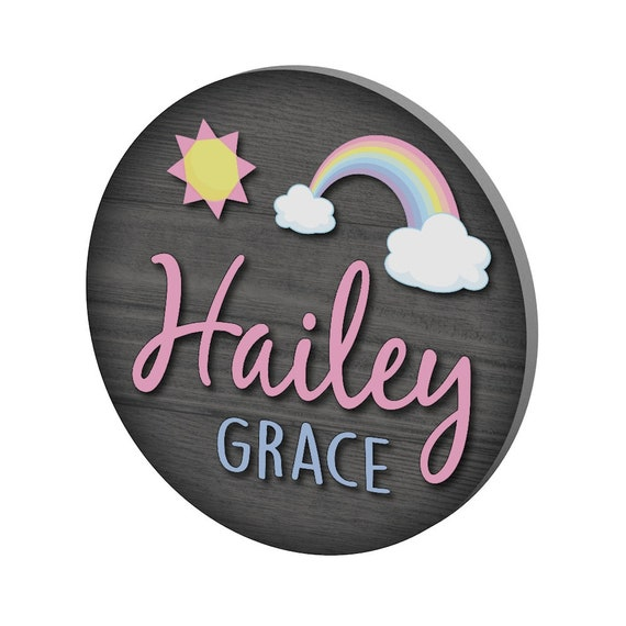 Circle Name Sign, Nursery Decor, Nursery Wall Art, Nursery Name Sign, Baby Shower Gift, Baby Girl Gift, Rainbow, Baby Girl Nursery, Wall Art