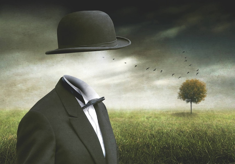 Surreal MAGRITTE Man in Bowler Hat CONTEMPORARY Fine Art image 0