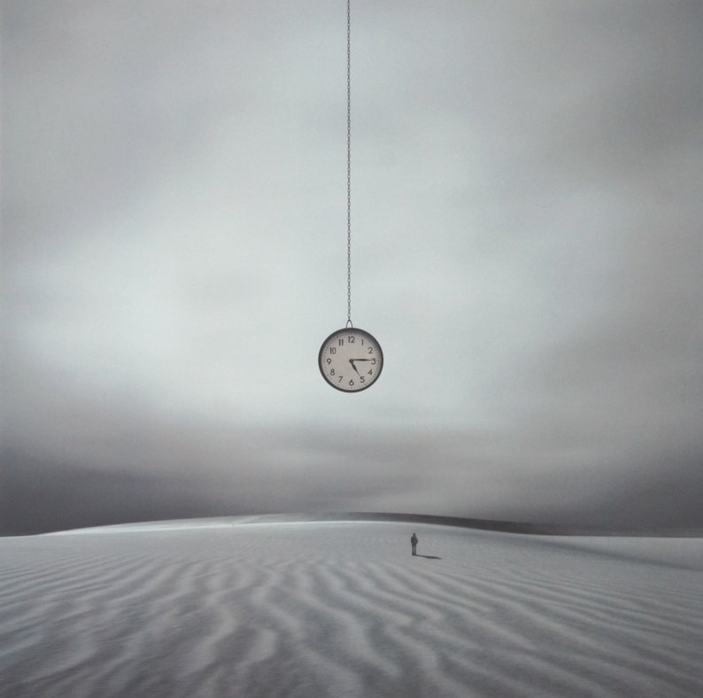 SURREAL DESERT CLOCK Contemporary Fine Art Photograph Signed image 0