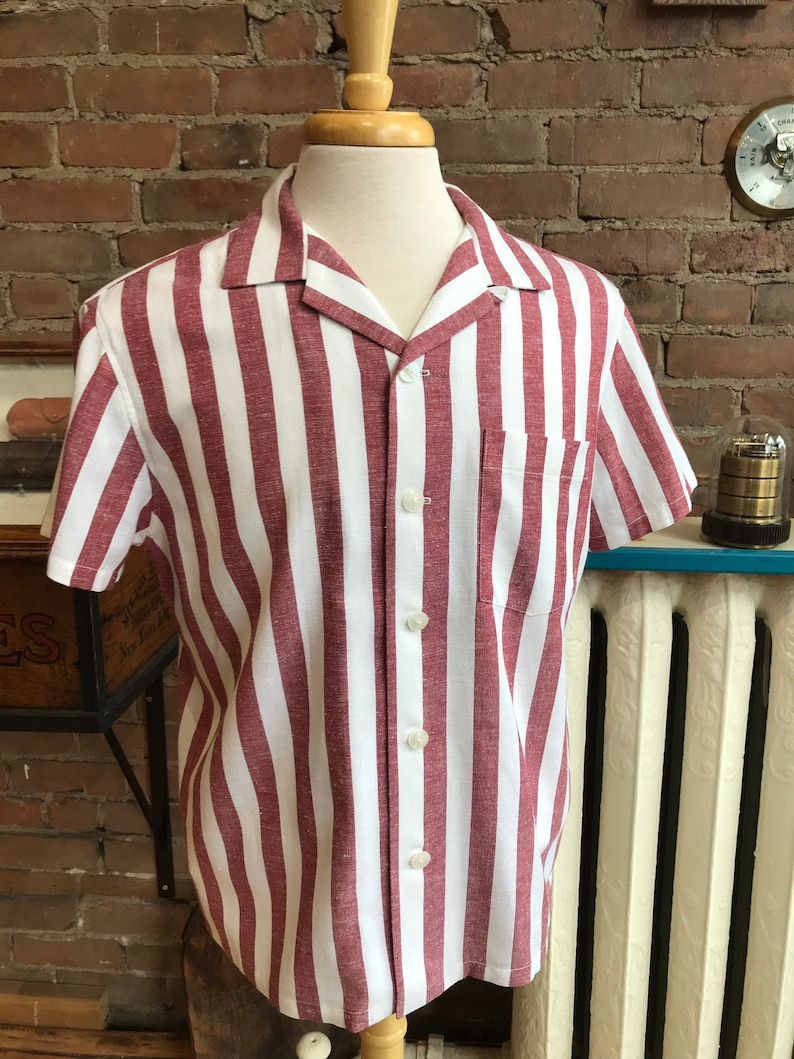 1940s Men's Shirts, Sweaters, Vests Open collar shirt camp collar short sleeves / FREE SHIPPING $115.00 AT vintagedancer.com