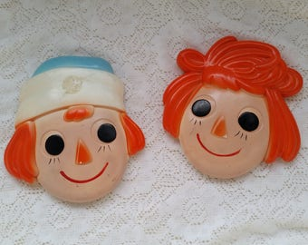 Raggedy Ann and Raggedy Andy Wall Decoration vintage