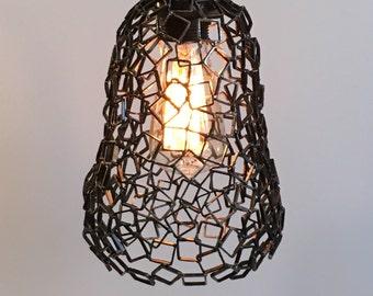Atomized pendant light, welded metal pendant light, industrial lighting, pear shape, modern lighting, plug in pendant light with Edison bulb
