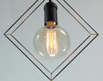 Cube pendant light, industrial lighting, square, modern lighting, geometric lighting, black socket, black fabric cord, black ceiling canopy