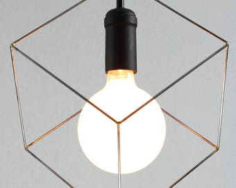 Cube pendant light, minimalist lighting, square hanging light, modern lighting, black socket, black fabric cord and black ceiling canopy