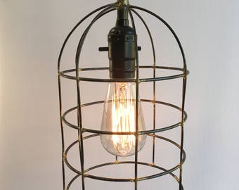 Metal cage pendant light, rustic wire dome hanging light, cloche shaped swag light, plug in pendant light.
