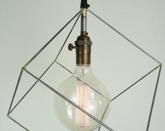 Cube pendant light, minimal pendant light, hanging square light, geometric pendant light, office light, desk lamp, chandelier, bar lighting