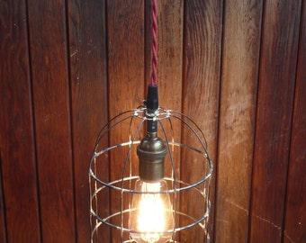 Caged pendant light, Bell jar lighting, birdcage hanging light, rustic lighting, handmade steel light fixture