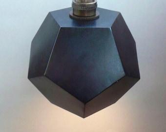 Geometric lighting, black dodecahedron light, pentagon light, modern pendant light, minimal lamp.