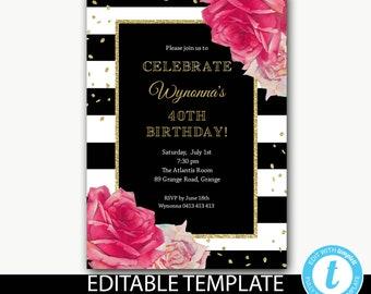 40th Birthday Invitation Ladies Floral Adult Invite Printable Editable Template Instant Download Wynonna