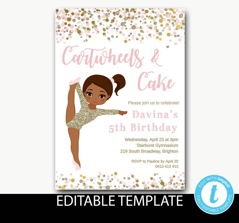Ballerina Birthday Invitation Instant Download Ballet Pink And Gold Invite Princess Editable Template Davina