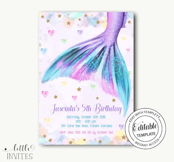 Mermaid tail tagYou/'re invited printable
