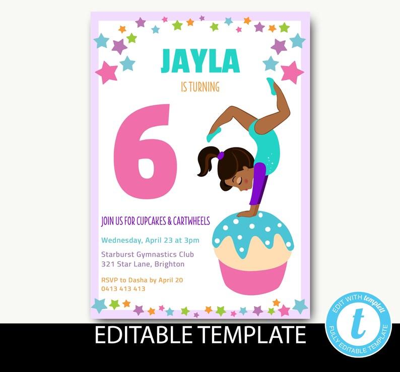 Gymnastic Birthday Invitation Girls