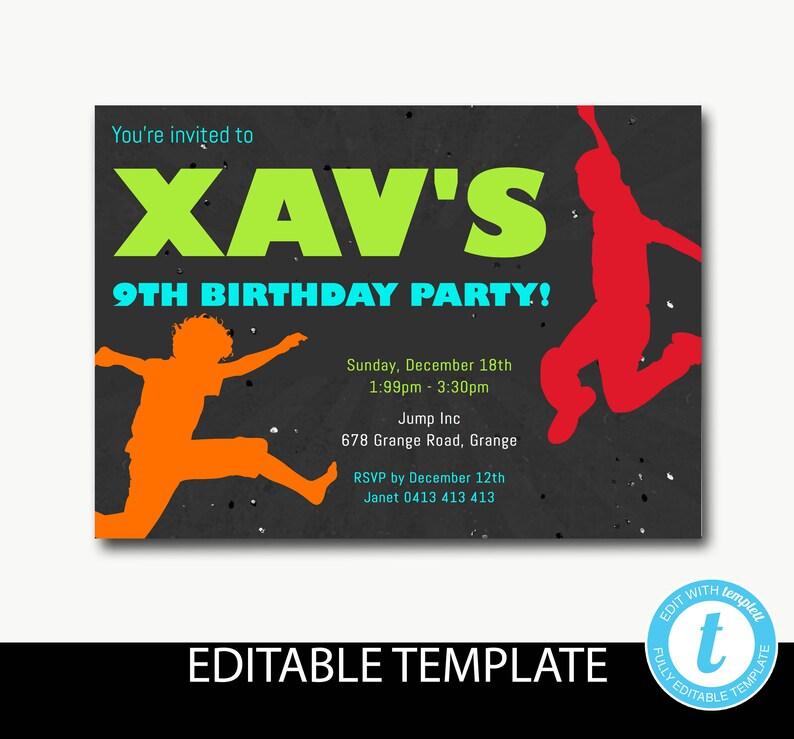 Trampoline birthday invitationJump invitationbounce invitationboys birthday invitationchalkEditable templateInstant download-Xav