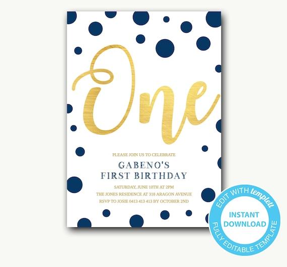 First Birthday Invitation Boy 1st Birthday Invitation Boy Polka Dot Birthday Invitation Confetti Navy Blue And Gold Editable Template Gabeno