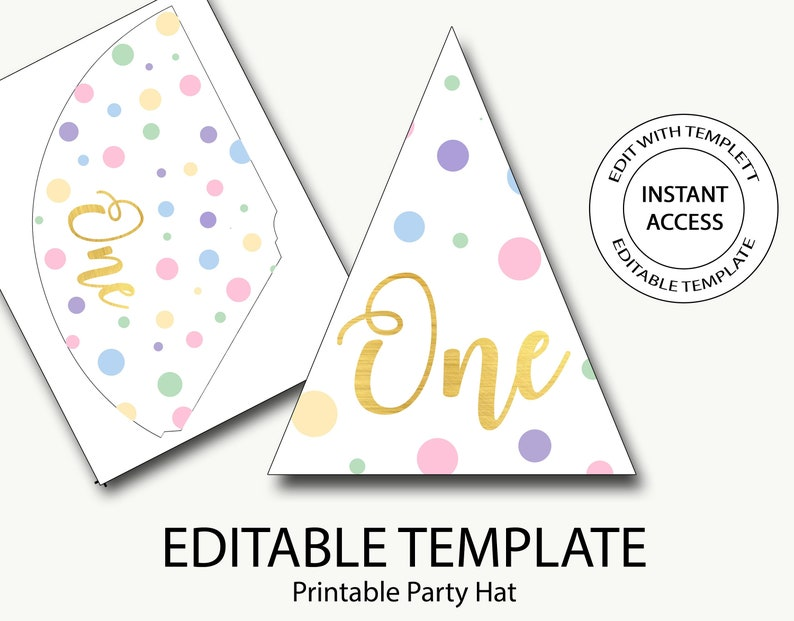 ee7ae7d5f44 Party hat printable first birthday party hat polka dot party