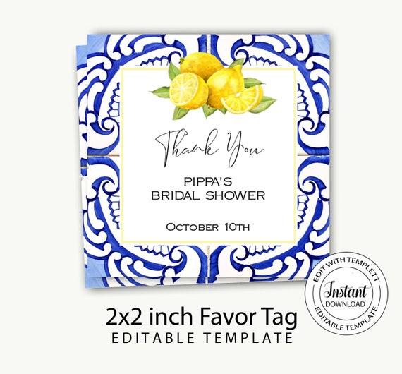 Bridal Shower invitation instant downloadlemon blue tile bridal shower invitationBaby shower lemon invitationEditable template-Pippa