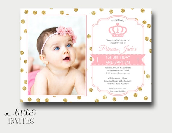 pink and gold baptism invitation first birthday and baptism etsy