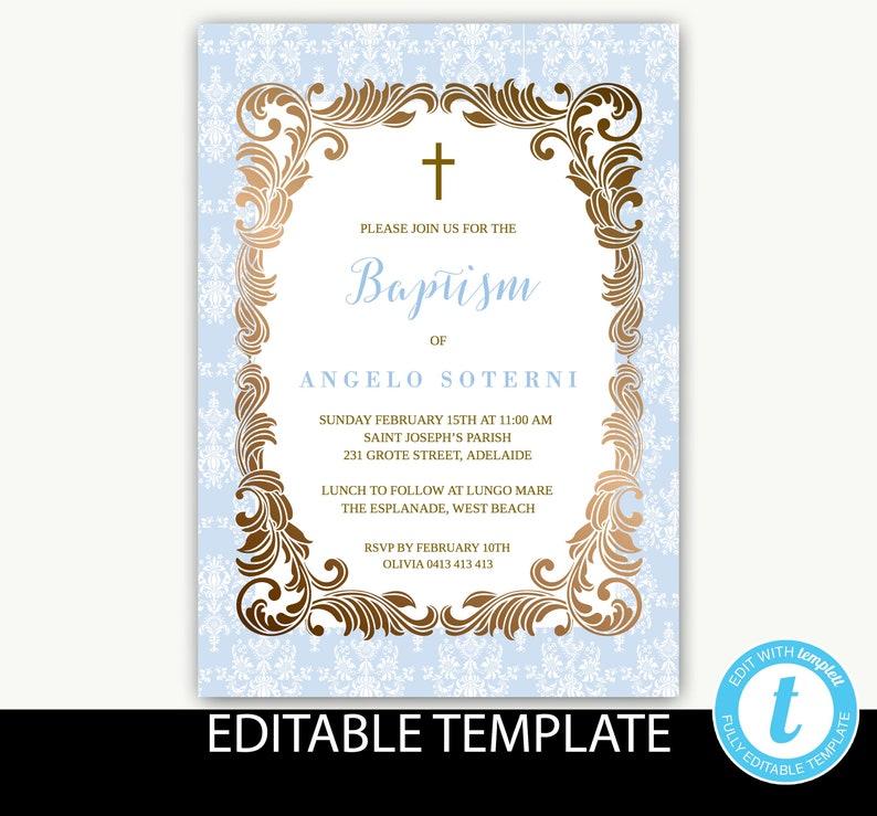 Baptism Invitation boyInstant DownloadChristening inviteblue damaskInstant DownloadEditable templateHoly CommunionConfirmation-Angelo