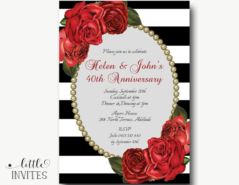 40th Wedding Anniversary Invitation/Red roses black white | Etsy