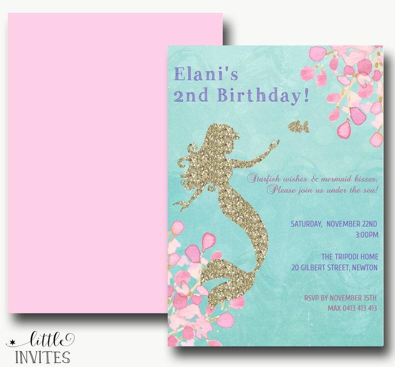 Mermaid invitations instant downloadmermaid baby shower invitationgold glitter mermaidmermaid birthday invitationEditable template-Elani