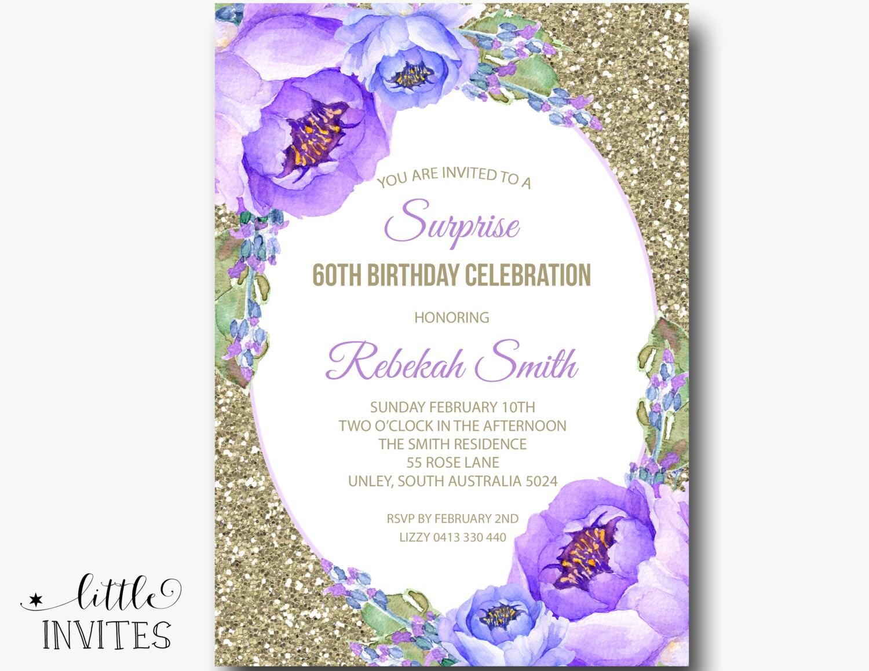 Floral Birthday Invitation/Bridal Shower Invitation/Purple | Etsy