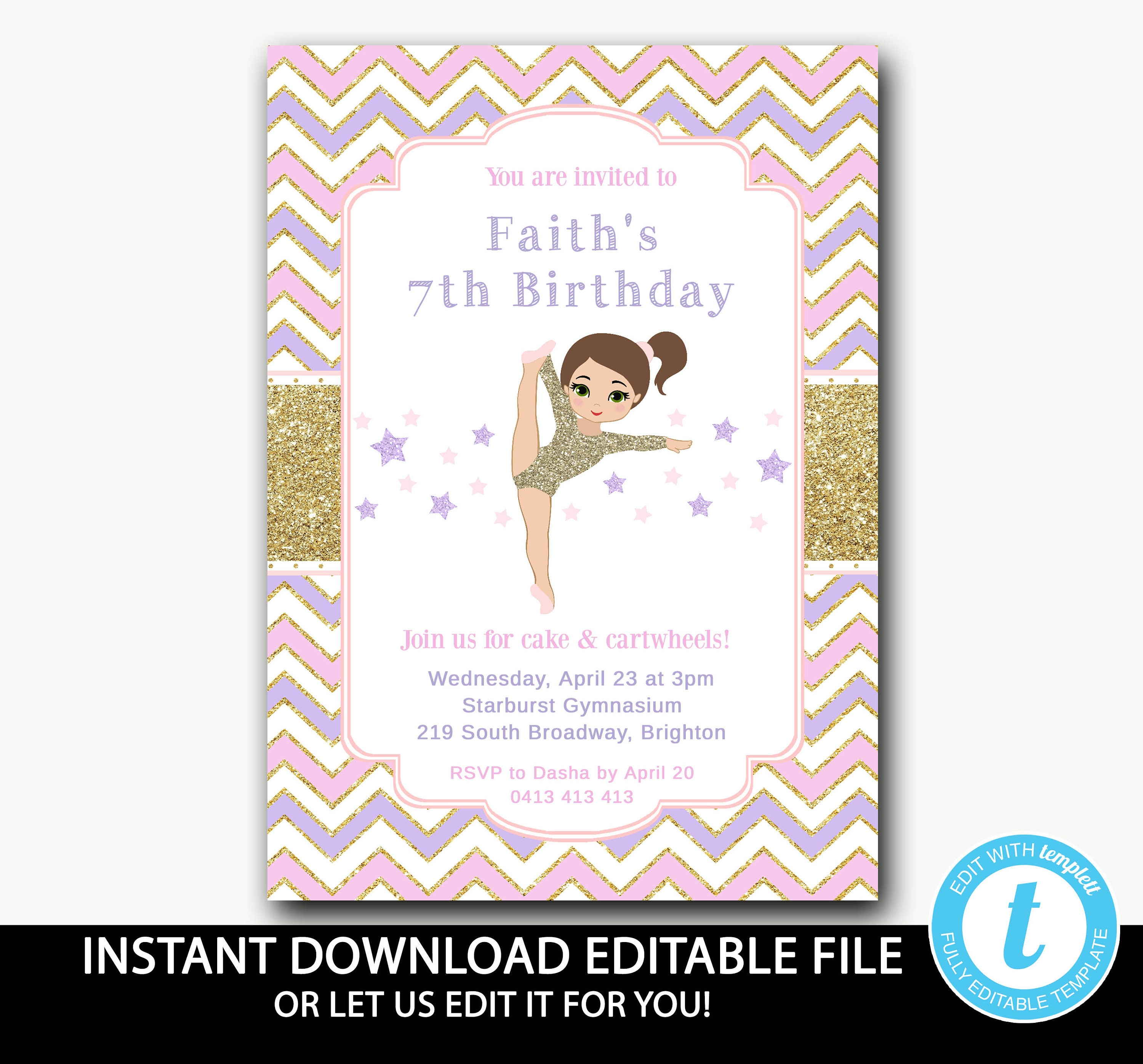 Gymnastic Birthday Invitation Instant Download Girls