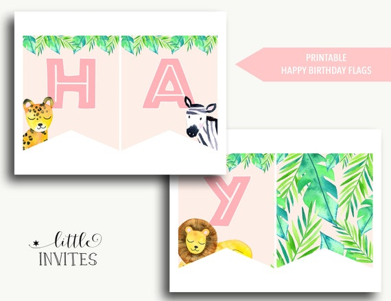 Happy Birthday Banner Download Jungle Birthday Flags Into The Wild Bunting Printable Pink Jungle Theme Printable Kellie