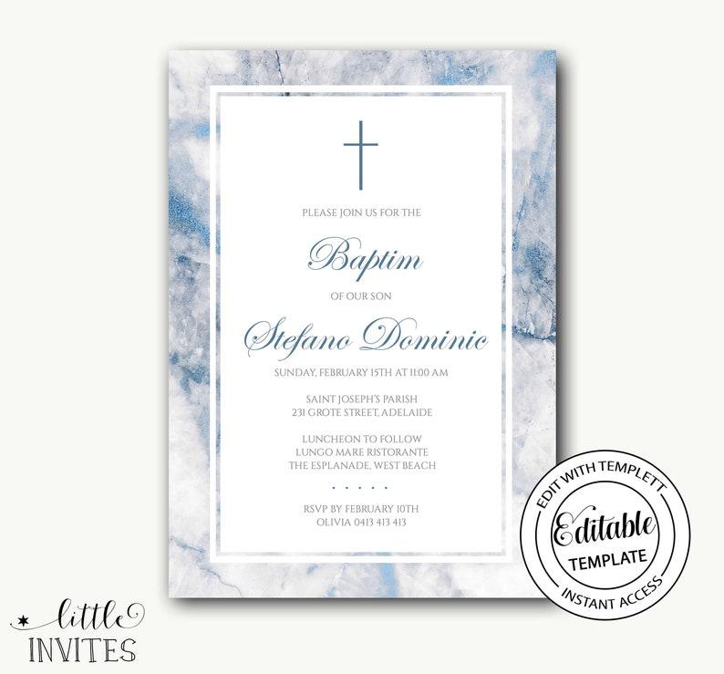 Baptism Invitation instant download boyMarble invitationBlue glitter marbleprintablechristeningCommunionConfirmation-Stefano cursive