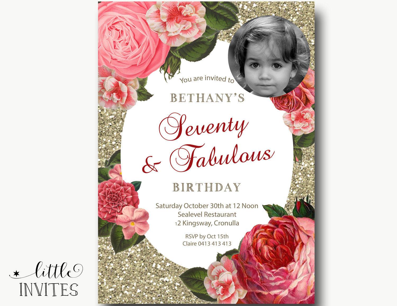 70th Birthday Invitation/Ladies Birthday Invitation/Floral | Etsy