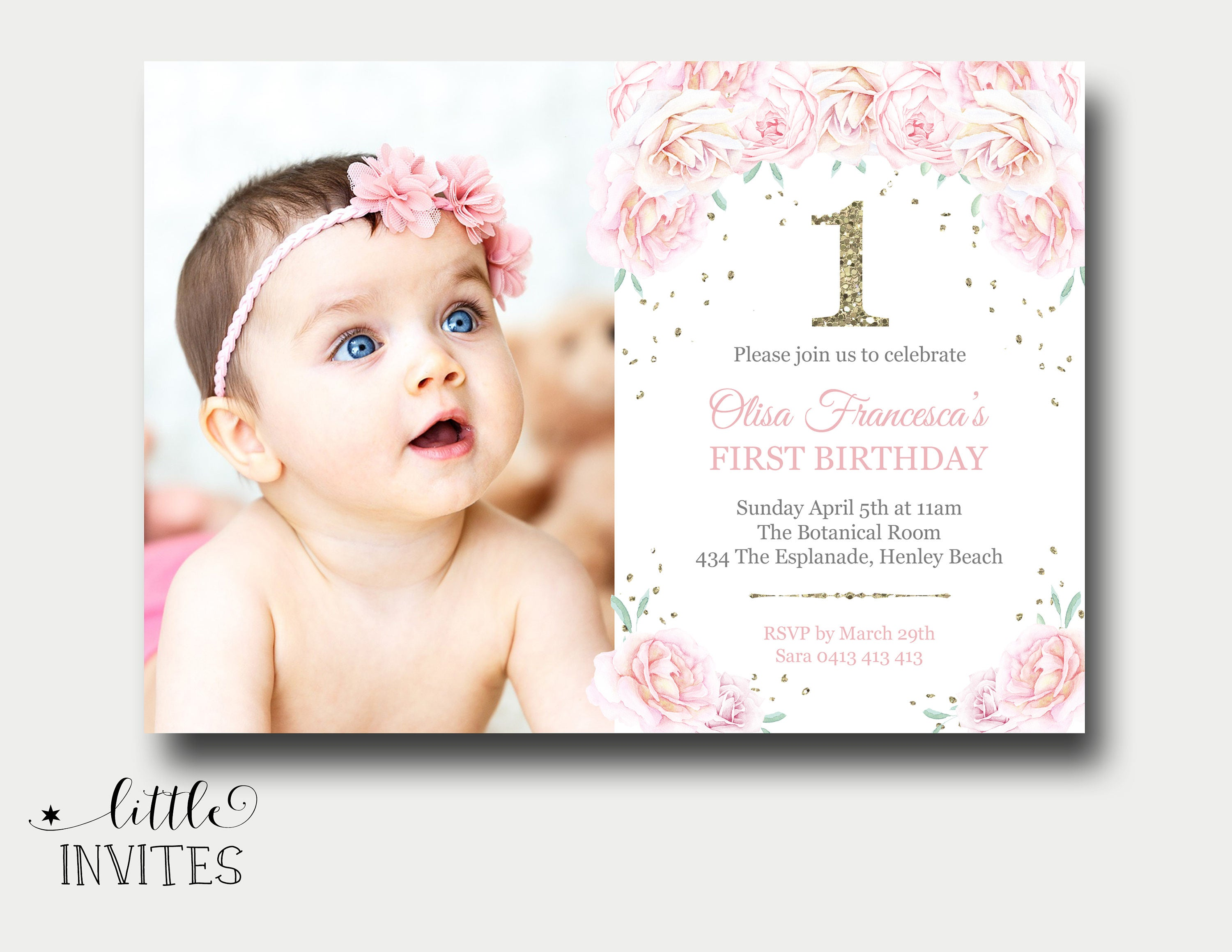 first birthday invitation girl/floral birthday invitation/Pink | Etsy