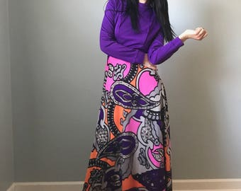 70s maxi dress | floral and abstract print long sleeve dress