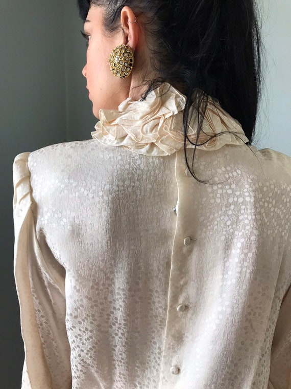 vintage 80s silk blouse   JERRI SHERMAN leaf prin… - image 7