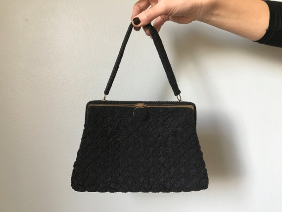 60s beaded handbag | black glass beaded handbag
