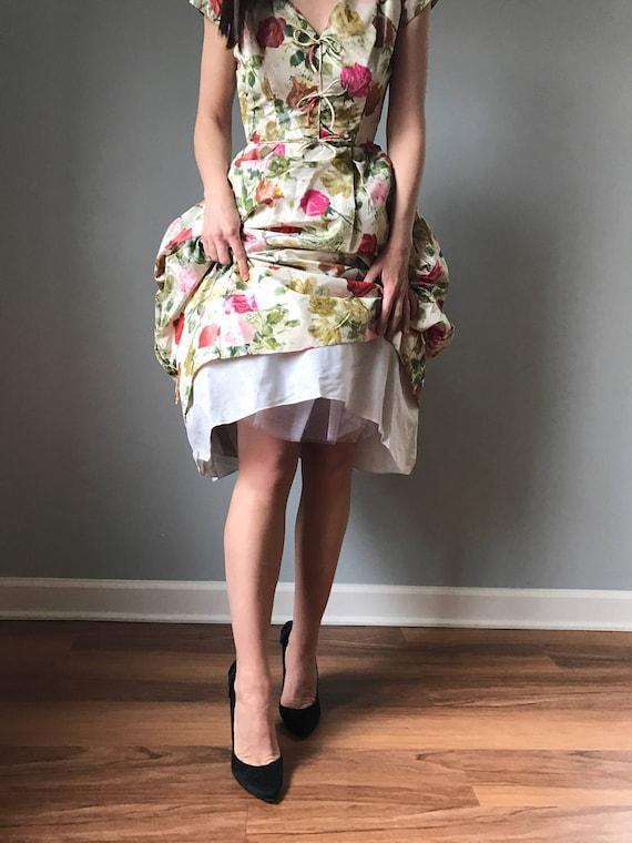50s floral party dress   vintage 50s cocktail dre… - image 4