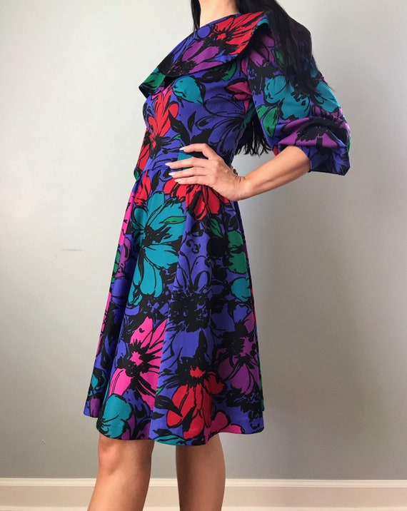 70s floral dress | polyester flower power collare… - image 6