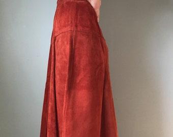 70s leather suede high waisted skirt   high waisted skirt   a-line skirt
