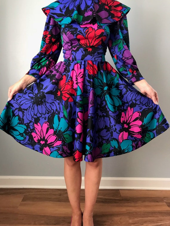 70s floral dress | polyester flower power collare… - image 3