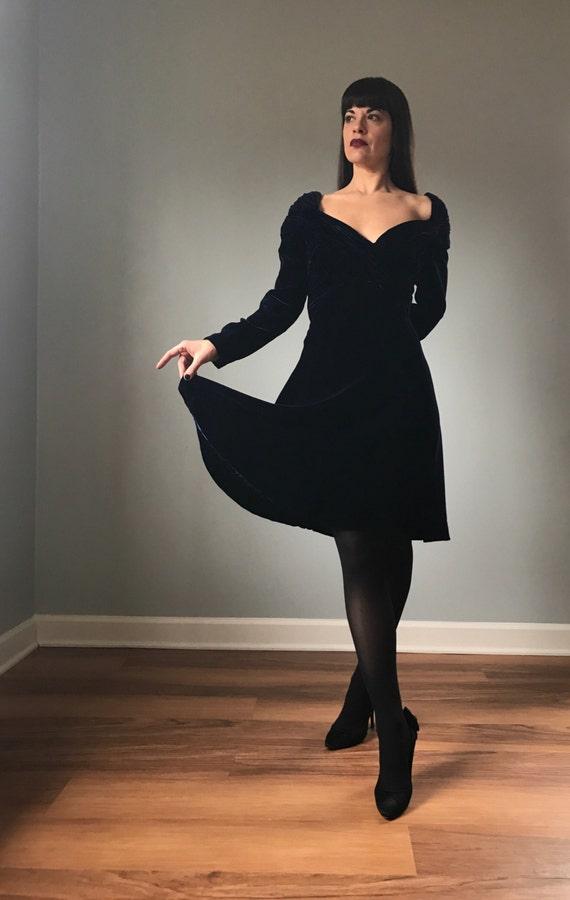 80s dress   SCAASI Boutique velvet cocktail dress