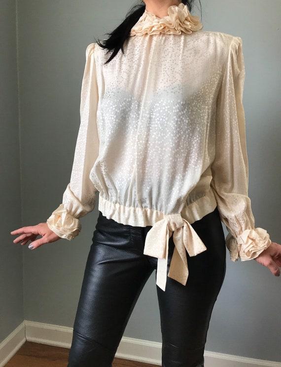 vintage 80s silk blouse   JERRI SHERMAN leaf prin… - image 3